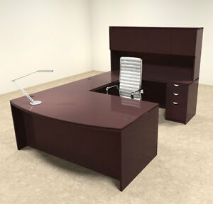 5pc Wood Bow Front U Shaped Modern Executive Office Desk Set ot vet u4