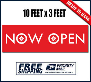 Now Open Banner Sign 10 Feet X 3 Ft Heavy Duty Outdoor Vinyl New Store Signs