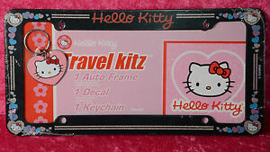Hello Kitty Car Truck Auto License Plate Frame Decal Keychain Pink Black Heart