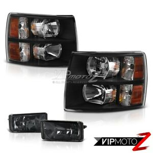 07 13 Chevy Silverado 1500 2500 3500 L R Diamond Black Hedlights Smoke Fog Light