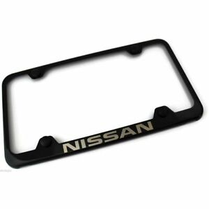 Nissan Black Stainless Steel License Plate Frame Lfw nis eb