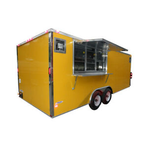 Concession Trailer 8 5 X 20 yellow Bbq Event Catering Food Kitchen Enclosed