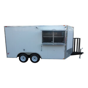 Concession Food Trailer 8 5 X 14 White And Features Vent Hood