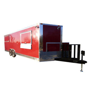 Concession Trailer 8 5 x24 Red Custom Enclosed Food Kitchen