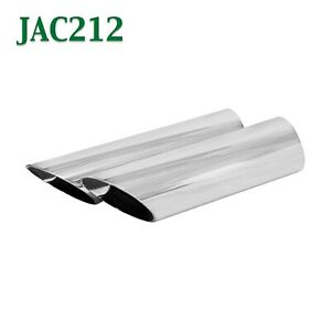 Jac212 Pair 2 1 2 2 5 Chrome Angle Cut Exhaust Tips 2 3 4 Outlet 9 Long