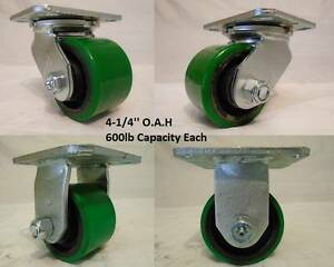 3 1 4 X 2 Swivel Low Profile Polyurethane Caster 2 Rigid 2 600lb Ea