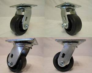 4 X 2 Swivel Casters W Rubber Wheel On Steel Hub 350lb Each 4 Tool Box