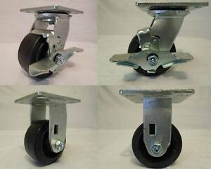 4 X 2 Swivel Casters Rubber Wheel W Brake 2 Rigid 2 350lb Each Tool Box
