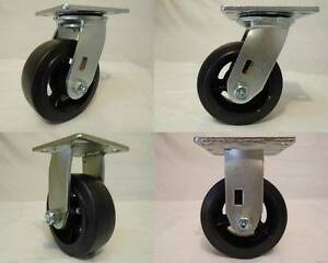 5 X 2 Swivel Casters Rubber Wheel 2 Matching Rigid 2 400lb Each Tool Box
