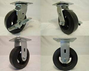 6 X 2 Swivel Casters Rubber Wheel W Brake 2 Rigid 2 550lb Each Tool Box