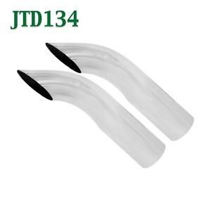 Jtd134 Pair 1 75 Chrome Turn Down Exhaust Tips 1 3 4 Inlet 2 Outlet 8 Long