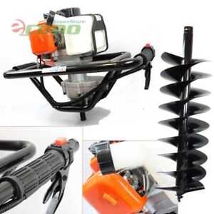 One Man 52cc Gas Power Earth Post Hole Auger Machine 10 X 1m 4hard Soil Bit Epa