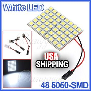 White Panel Map Light 48 Smd 5050 Led interior Bulb t10 ba9s Adapter dome Lamp