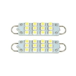 2 Pcs 44mm 12 Smd Rigid Loop White Festoon 1 73 Led Light Bulbs 561 562 567 564