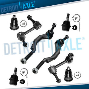 8pc Front Ball Joints Tie Rods Sway Bars For 2002 03 Bravada Ascender Envoy