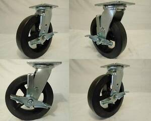 8 X 2 Swivel Casters Rubber Wheel On Steel Hub Brake 4 600lb Each Tool Box