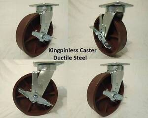 8 X 2 Swivel Casters Kingpinless Ductile Steel Wheel W brake 4 2000lb Each