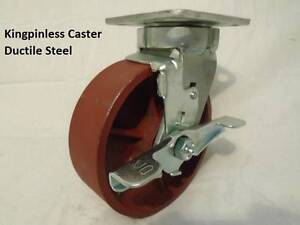 6 X 2 Swivel Caster Kingpinless Ductile Steel Wheel W Brake 2000lb Each