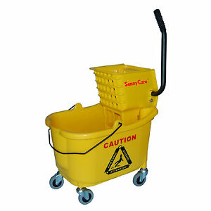 Sunnycare 35qt Mop Bucket With Wringer Side Press plastic yellow new