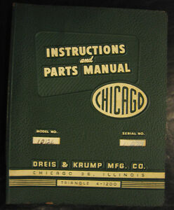 Chicago Model 1012l Dries Krump Press Brake Instructions And Parts Manual