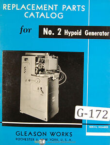 Gleason 2 Hypoid Generator Clad Parts Manual 1953
