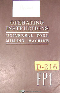 Deckel Fp1 Universal Tool Milling Boring Machine Instructions Manual