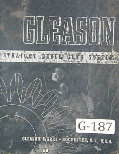 Gleason Beveled Gear System Tooth Proportion 13 30 Per Pinion Manual 1942