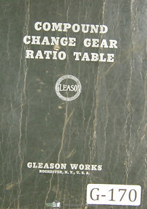 Gleason Comound Change Gear Ration Table 150000 To 3 1333333 Manual 1937
