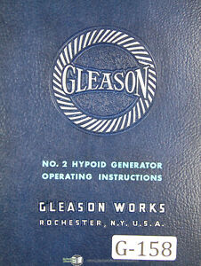 Gleason 2 Hypoid Generator G2h Operators Instructions Manual Year 1953