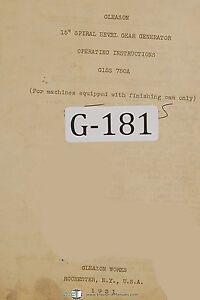 Gleason 15 Spiral Bevel Gear Generator Operations Manual 1931