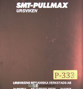 Pullmax Ursviken Ekp Up 3506 Press Brake Instructions And Parts Manual 1978