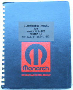 Monarch Pathfinder 10 Lathe Maintenance Manual