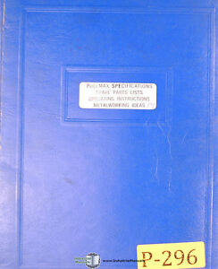 Pullmax P9 Shearing Forming Nibbler Operations And Parts Manual 1957 1969