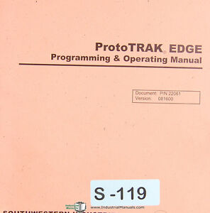 Southwestern Prototrak Edge Programming Operations Self Training Manual 2001