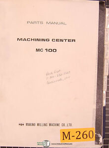 Makino Mc100 2m Machine Center 261pg Parts Manual