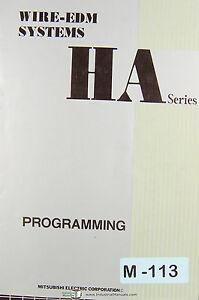 Mitsubishi Ha Series Wire Edm Systems Programming Manual