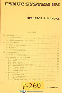 Fanuc 6m Cnc Machine Control B 52024e 02 Operations Programming Manual 1980
