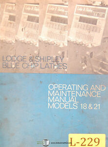 Lodge Shipley 18 21 Blueship Lathes Operations And Maintenance Manual