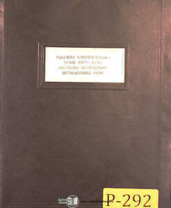 Pullmax P2 And P3 Plate Worker Instructions Parts And Projects Manual 1957