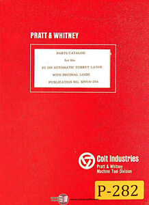 Pratt Whitney Pj200 Turret Lathe Parts Manual 1967