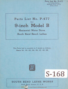 Southbend 9 B Horizontal Motor Drive Lathe Parts List P 477 Manual 1943