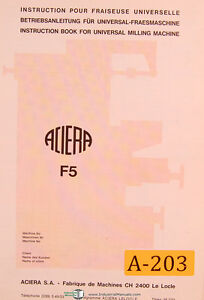 Aciera Type F5 Universal Milling Machine Installation Instructions Manual