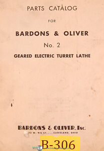 Bardons Oliver No 2 Geared Electric Turret Lathe Parts List Manual 1948