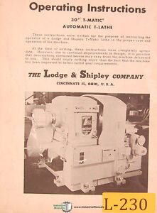 Lodge Shipley 30 T matic Auto T Lathe Operations And Care Manual Year 1953