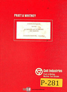 Pratt Whitney 2a M1620 And 3b M1695 Jig Boring Parts Manual Year 1968