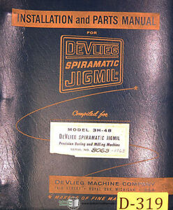 Devlieg 3b 48 Spiromatic Jigmil Installation And Parts Manual Year 1960