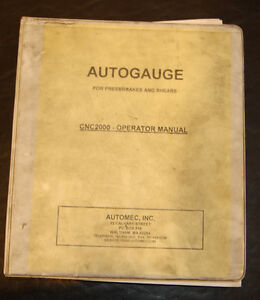 Autogauge Cnc 2000 Automec Operators Programming Manual