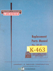 Kearney Trecker S 12 Si 61 Milling Machine Replacement Parts Manual Year 1961