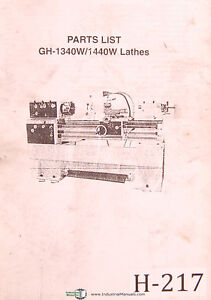 Birmingham Acra Gh 1340w 1440w Lathes Parts Lists Manual