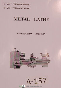 Acra 9 X 19 9 X 29 Metal Lathe 60 Page Instructions And Parts Manual